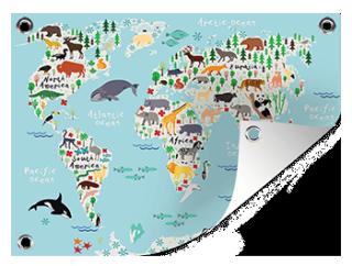 Kinder wereldkaart op een tuinposter printen
