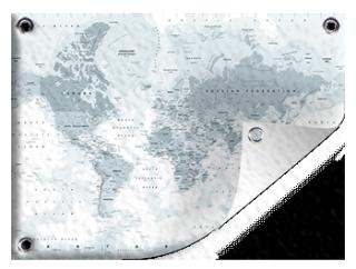 Wereldkaart grijstinten op tuinposter