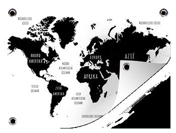 Zwart wit wereldkaart op tuinposter